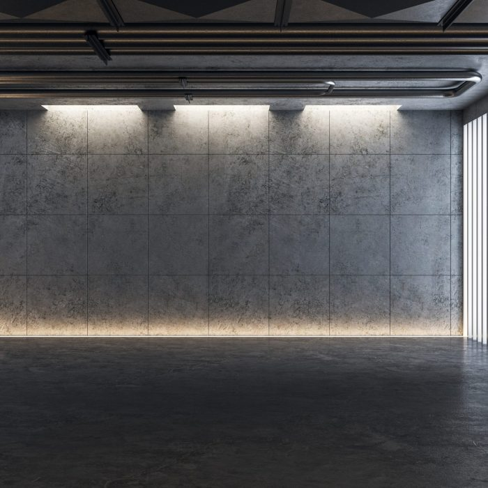 Light concrete gallery interior with lights and abstract installation. Mock up, 3D Rendering